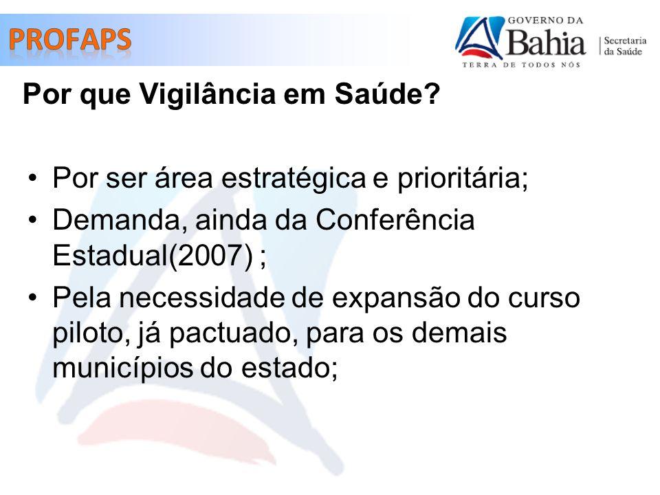 Por ser área estratégica e prioritária; Demanda, ainda da Conferência Estadual(2007) ; Pela necessidade de expansão do curso piloto, já pactuado, para os demais municípios do estado; Por que Vigilância em Saúde?