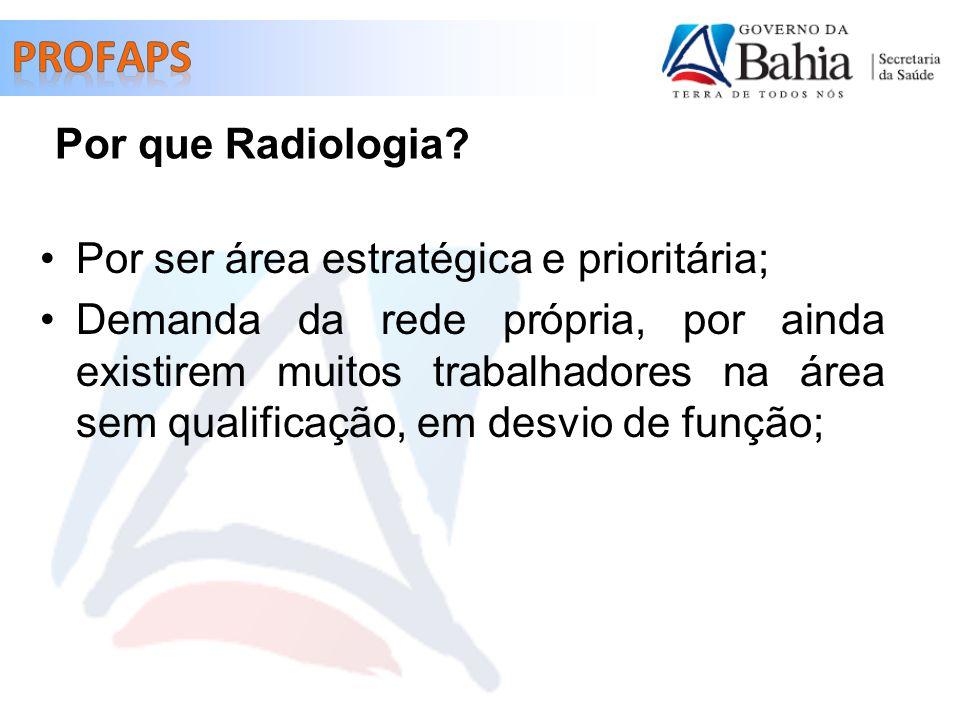 Por ser área estratégica e prioritária; Demanda da rede própria, por ainda existirem muitos trabalhadores na área sem qualificação, em desvio de função; Por que Radiologia?