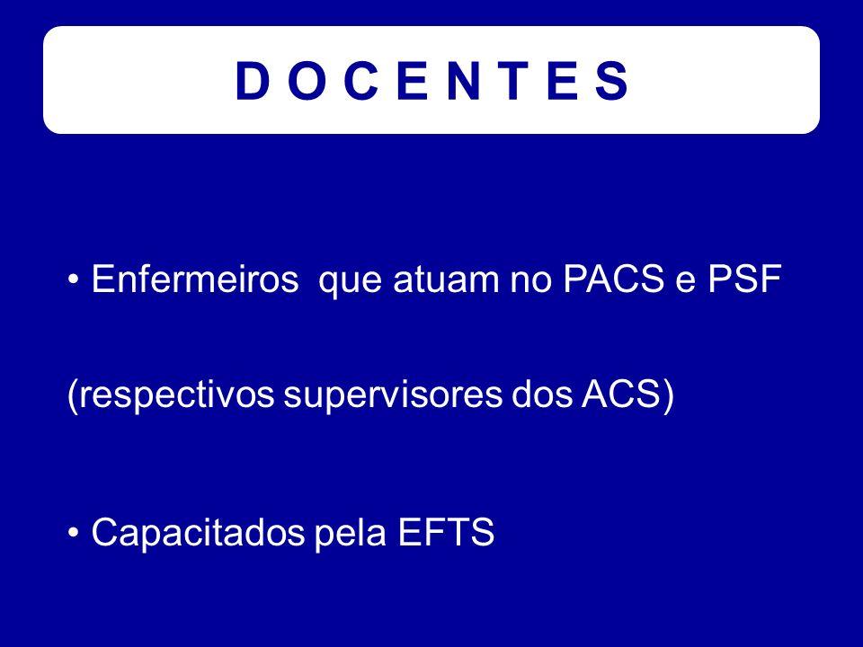 A L U N O S ACS matriculados na EFTS independente de grau de escolaridade Cada turma será constituída por um grupo de ACS sob supervisão de um mesmo enfermeiro (membros de uma mesma equipe do PSF ou PACS)