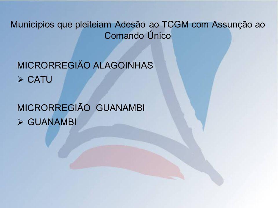MICRORREGIÃO ALAGOINHAS CATU MICRORREGIÃO GUANAMBI GUANAMBI Municípios que pleiteiam Adesão ao TCGM com Assunção ao Comando Único