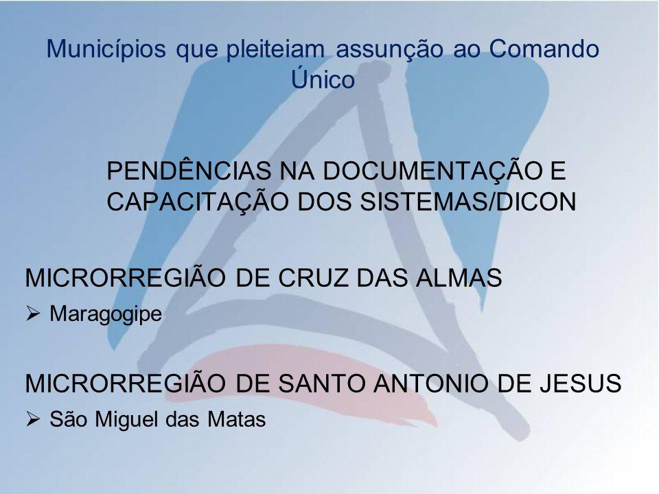 PENDÊNCIAS NA DOCUMENTAÇÃO E CAPACITAÇÃO DOS SISTEMAS/DICON MICRORREGIÃO DE CRUZ DAS ALMAS Maragogipe MICRORREGIÃO DE SANTO ANTONIO DE JESUS São Miguel das Matas Municípios que pleiteiam assunção ao Comando Único