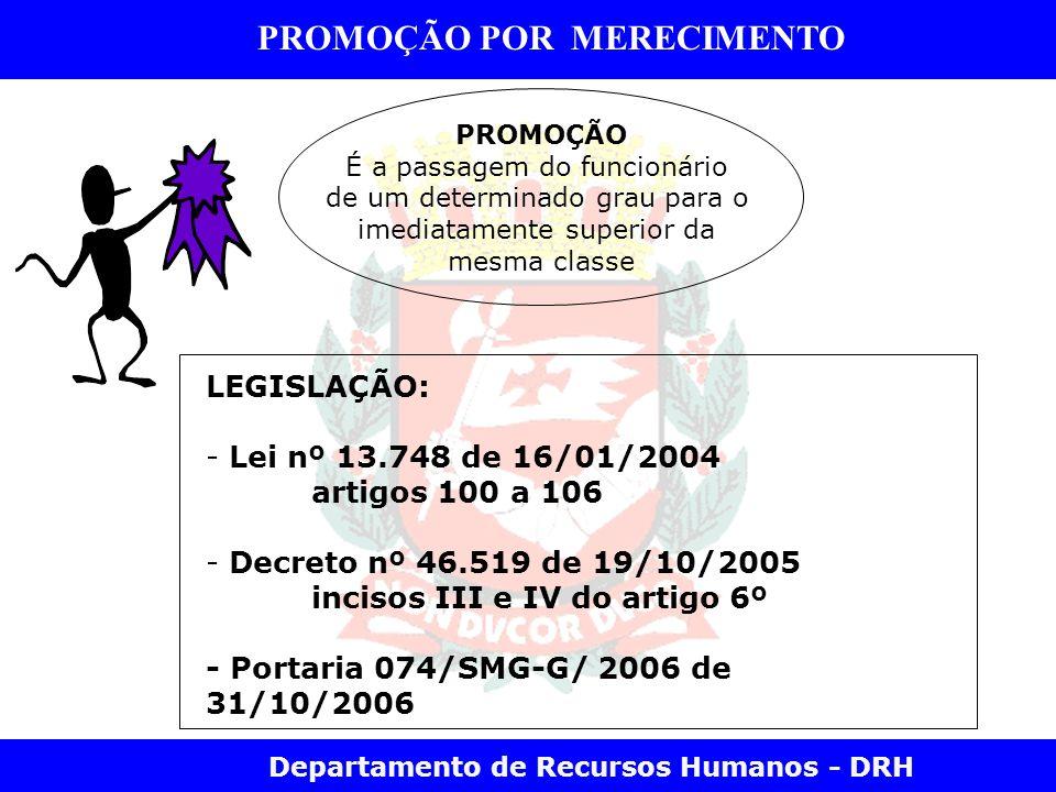 Departamento de Recursos Humanos - DRH PROMOÇÃO POR MERECIMENTO PROMOÇÃO É a passagem do funcionário de um determinado grau para o imediatamente super
