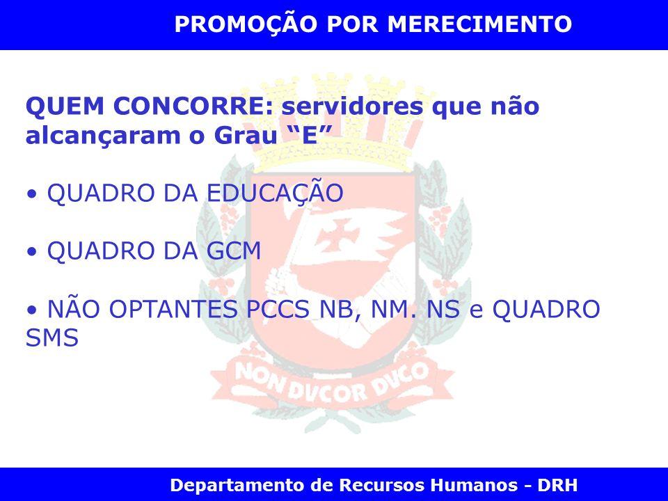 Departamento de Recursos Humanos - DRH PROMOÇÃO POR MERECIMENTO QUEM CONCORRE: servidores que não alcançaram o Grau E QUADRO DA EDUCAÇÃO QUADRO DA GCM