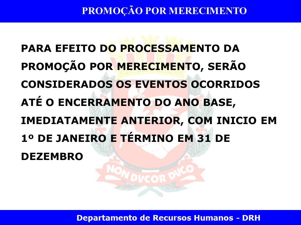 Departamento de Recursos Humanos - DRH PROMOÇÃO POR MERECIMENTO PARA EFEITO DO PROCESSAMENTO DA PROMOÇÃO POR MERECIMENTO, SERÃO CONSIDERADOS OS EVENTO