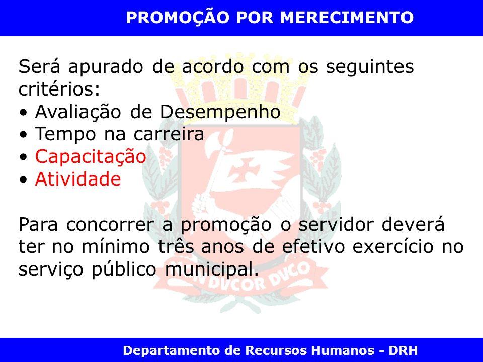 Departamento de Recursos Humanos - DRH PROMOÇÃO POR MERECIMENTO Será apurado de acordo com os seguintes critérios: Avaliação de Desempenho Tempo na ca