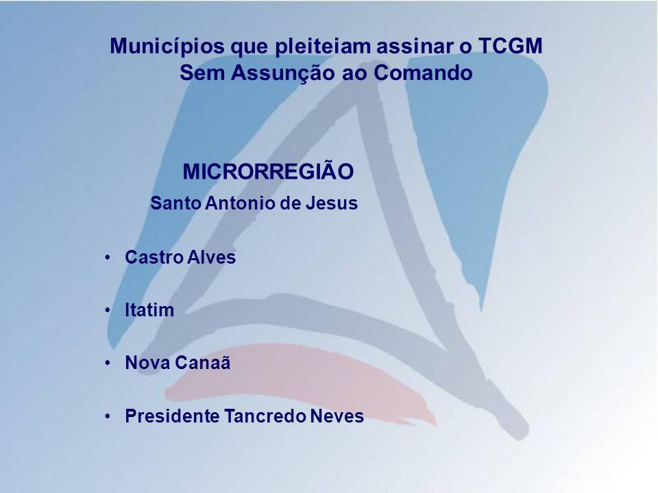 Municípios que pleiteiam assinar o TCGM Sem Assunção ao Comando MICRORREGIÃO Santo Antonio de Jesus Castro Alves Itatim Nova Canaã Presidente Tancredo