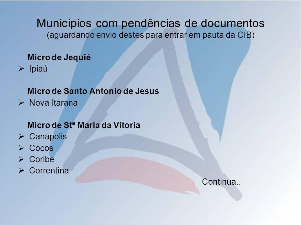 Municípios com pendências de documentos (aguardando envio destes para entrar em pauta da CIB) Micro de Jequié Ipiaú Micro de Santo Antonio de Jesus No