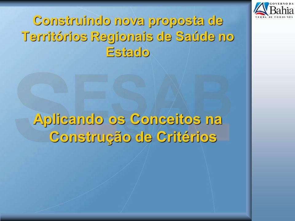 Construindo nova proposta de Territórios Regionais de Saúde no Estado Aplicando os Conceitos na Construção de Critérios