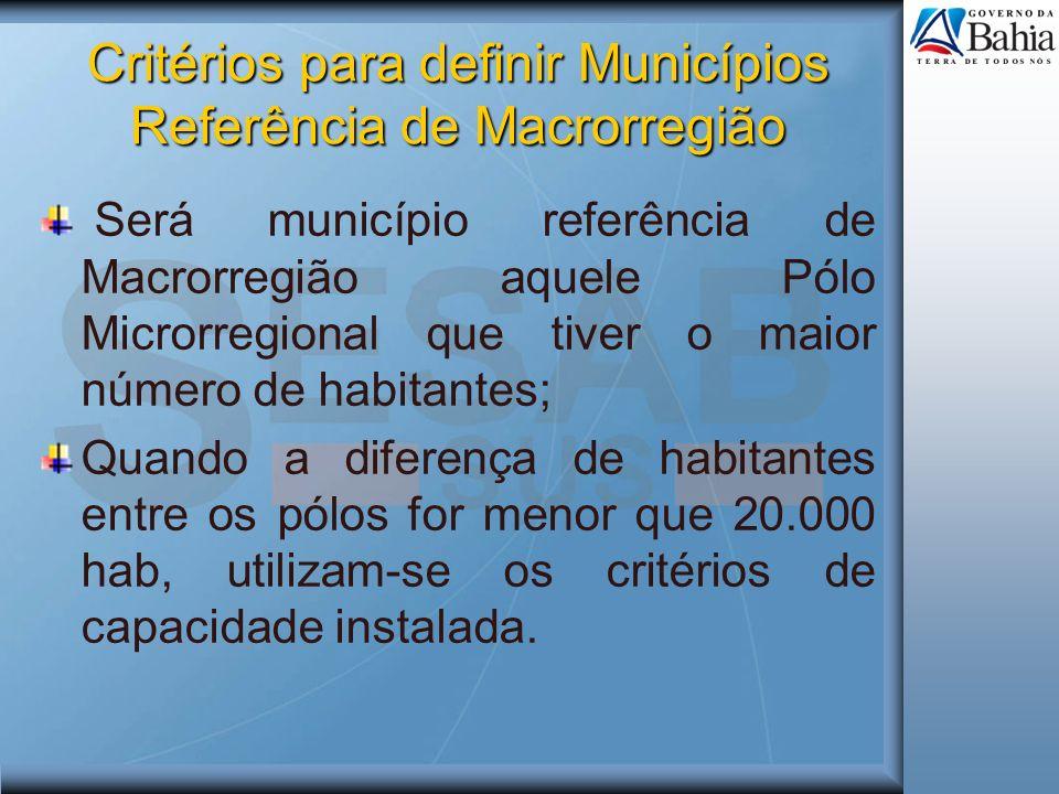 Critérios para definir Municípios Referência de Macrorregião Será município referência de Macrorregião aquele Pólo Microrregional que tiver o maior nú