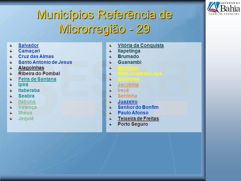 Municípios Referência de Microrregião - 29 Salvador Camaçari Cruz das Almas Santo Antonio de Jesus Alagoinhas Ribeira do Pombal Feira de Santana Ipirá