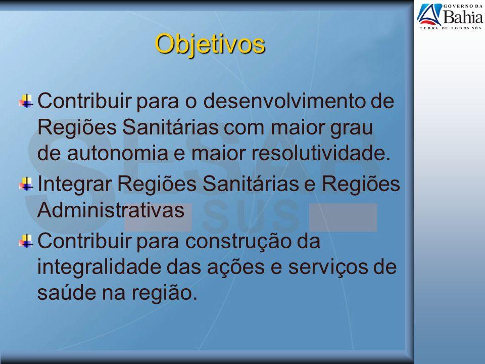 Objetivos Contribuir para o desenvolvimento de Regiões Sanitárias com maior grau de autonomia e maior resolutividade. Integrar Regiões Sanitárias e Re