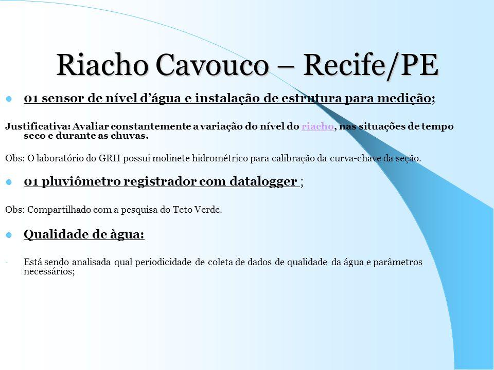 Riacho Cavouco – Recife/PE 01 sensor de nível dágua e instalação de estrutura para medição; Justificativa: Avaliar constantemente a variação do nível