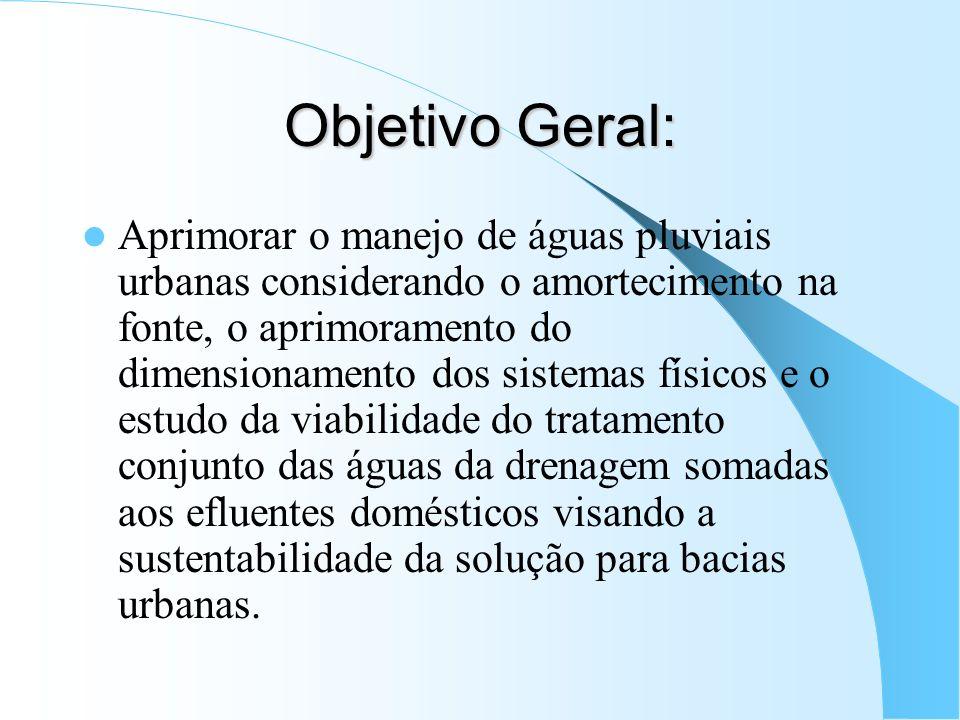 Objetivo Geral: Aprimorar o manejo de águas pluviais urbanas considerando o amortecimento na fonte, o aprimoramento do dimensionamento dos sistemas fí
