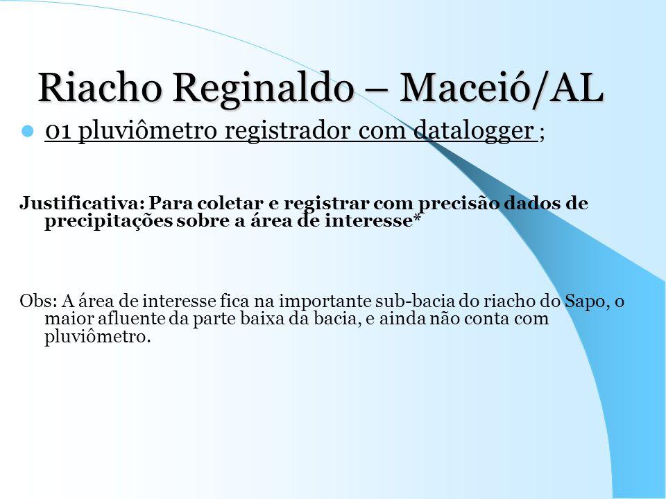 Riacho Reginaldo – Maceió/AL 01 pluviômetro registrador com datalogger ; Justificativa: Para coletar e registrar com precisão dados de precipitações s
