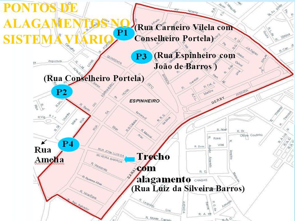 PONTOS DE ALAGAMENTOS NO SISTEMA VIÁRIO (Rua Luiz da Silveira Barros) (Rua Conselheiro Portela) (Rua Carneiro Vilela com Conselheiro Portela) (Rua Esp