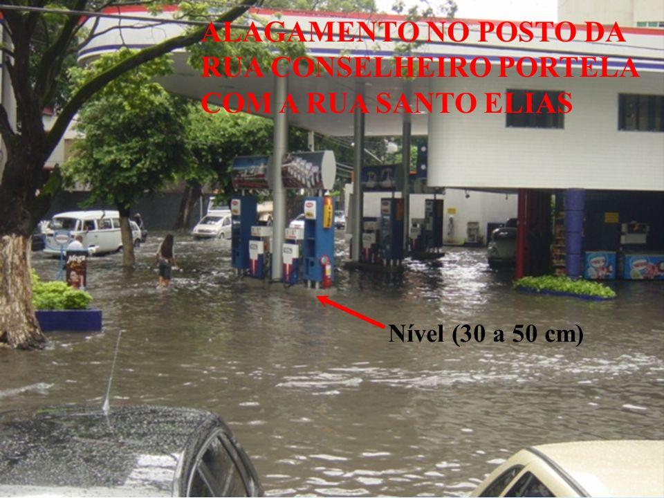 ALAGAMENTO NO POSTO DA RUA CONSELHEIRO PORTELA COM A RUA SANTO ELIAS Nível (30 a 50 cm)