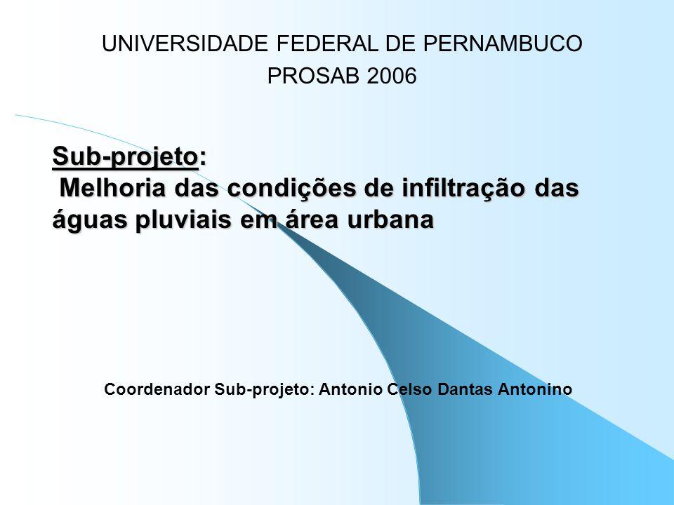 Sub-projeto: Melhoria das condições de infiltração das águas pluviais em área urbana UNIVERSIDADE FEDERAL DE PERNAMBUCO PROSAB 2006 Coordenador Sub-pr