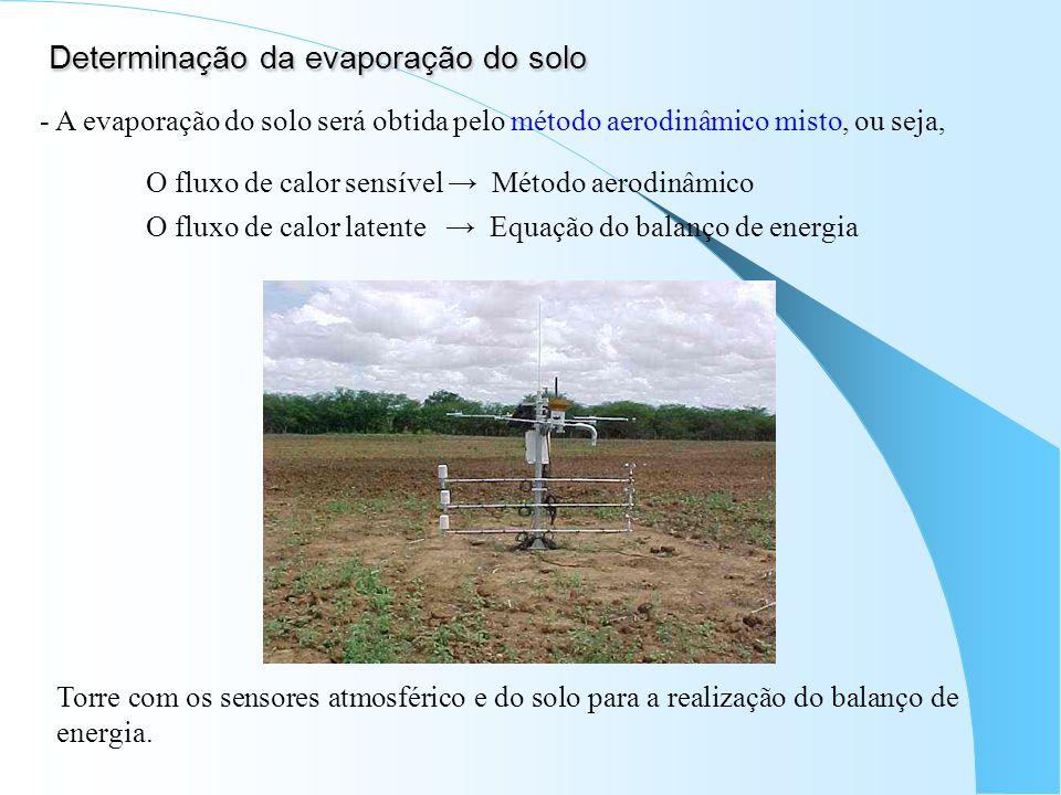 Determinação da evaporação do solo - A evaporação do solo será obtida pelo método aerodinâmico misto, ou seja, O fluxo de calor sensível Método aerodi