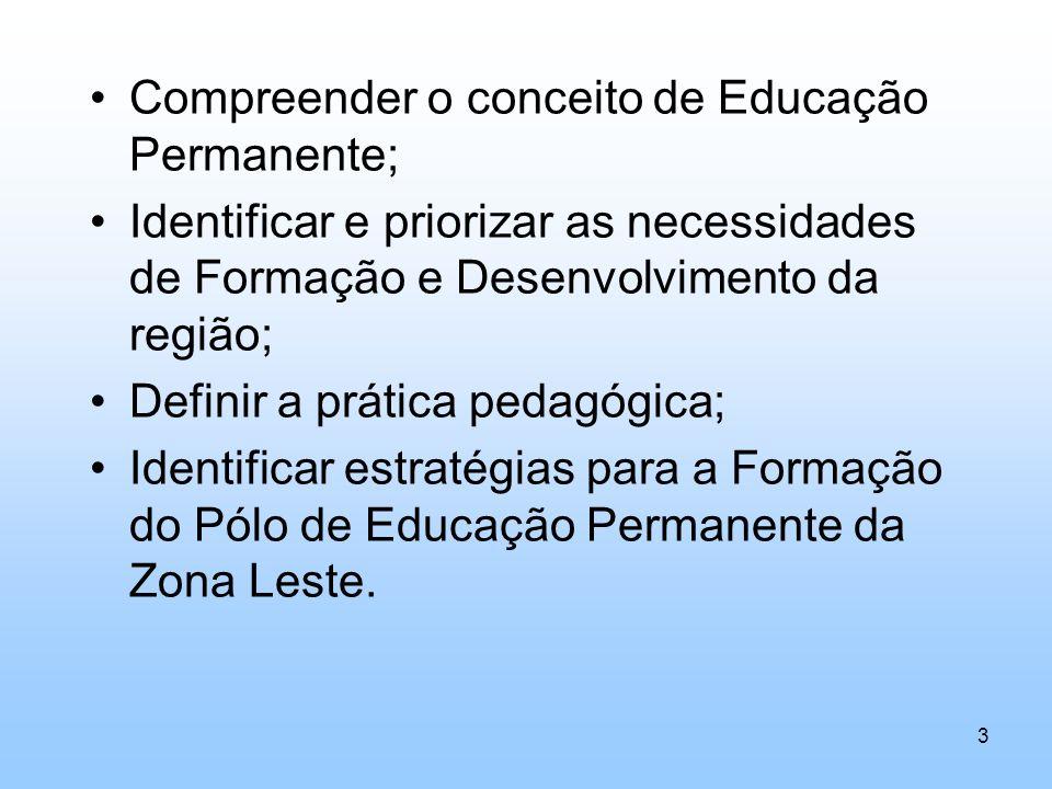 Compreender o conceito de Educação Permanente; Identificar e priorizar as necessidades de Formação e Desenvolvimento da região; Definir a prática peda