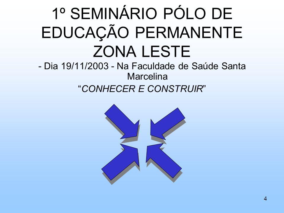 1º SEMINÁRIO PÓLO DE EDUCAÇÃO PERMANENTE ZONA LESTE - Dia 19/11/2003 - Na Faculdade de Saúde Santa Marcelina CONHECER E CONSTRUIR 4