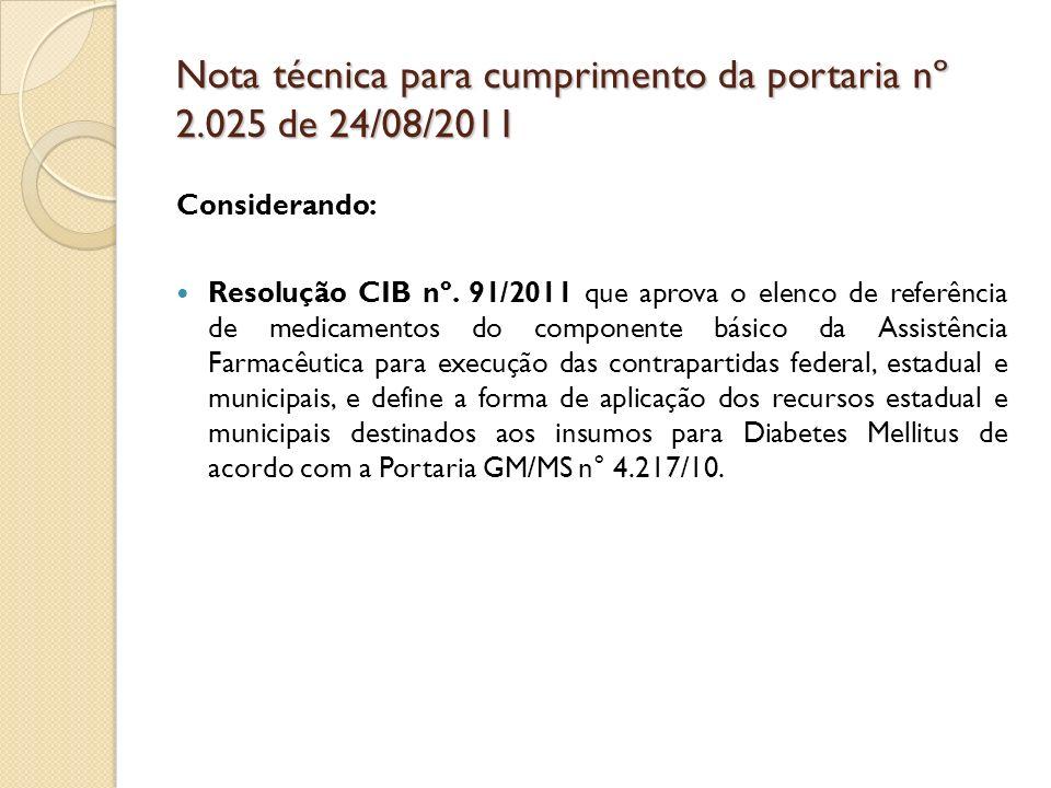 Considerando: Resolução CIB nº. 91/2011 que aprova o elenco de referência de medicamentos do componente básico da Assistência Farmacêutica para execuç