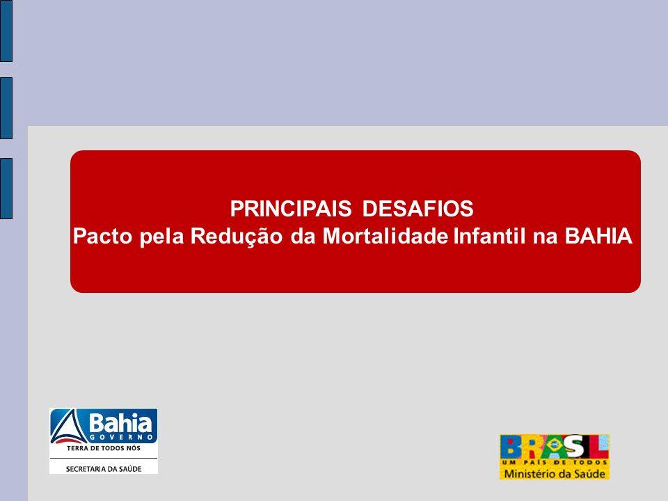 PRINCIPAIS DESAFIOS Pacto pela Redução da Mortalidade Infantil na BAHIA