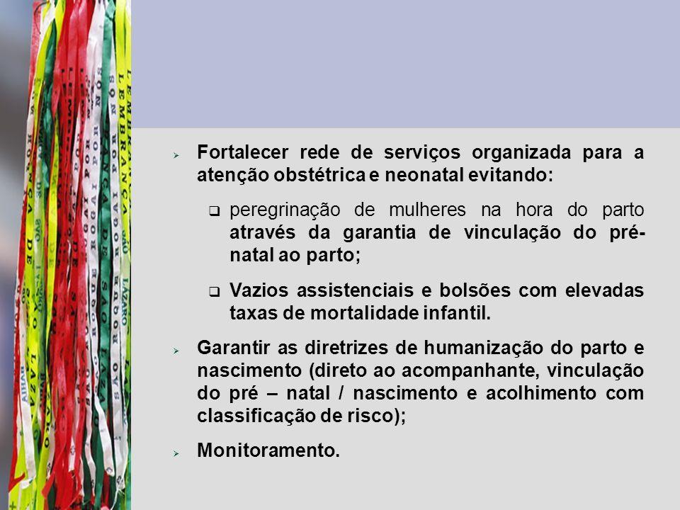 Fortalecer rede de serviços organizada para a atenção obstétrica e neonatal evitando: peregrinação de mulheres na hora do parto através da garantia de