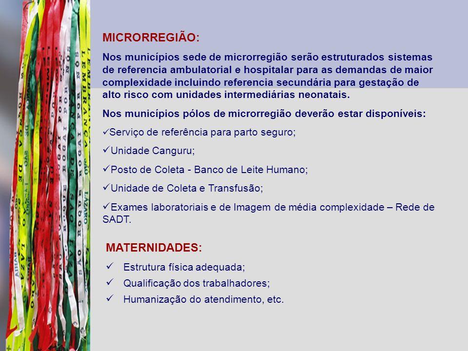 MICRORREGIÃO: Nos municípios sede de microrregião serão estruturados sistemas de referencia ambulatorial e hospitalar para as demandas de maior comple