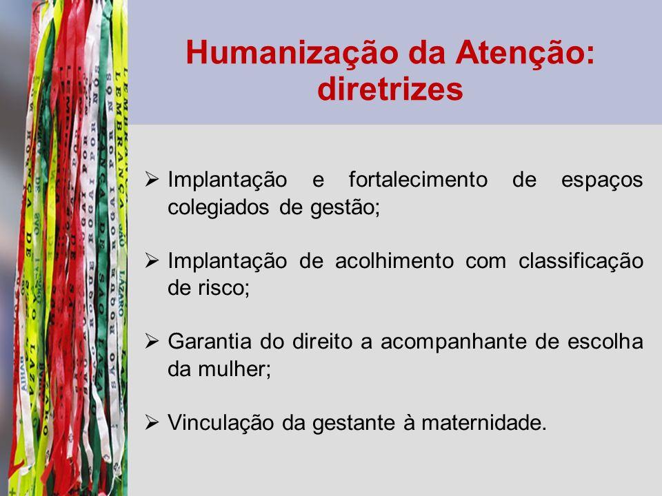 Humanização da Atenção: diretrizes Implantação e fortalecimento de espaços colegiados de gestão; Implantação de acolhimento com classificação de risco