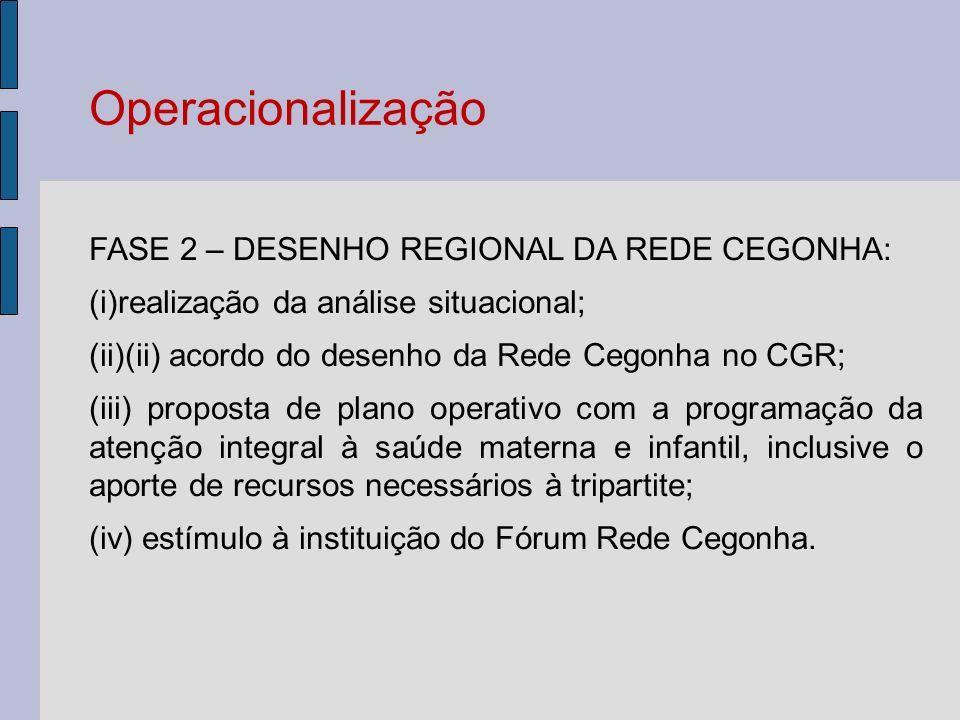FASE 2 – DESENHO REGIONAL DA REDE CEGONHA: (i)realização da análise situacional; (ii)(ii) acordo do desenho da Rede Cegonha no CGR; (iii) proposta de