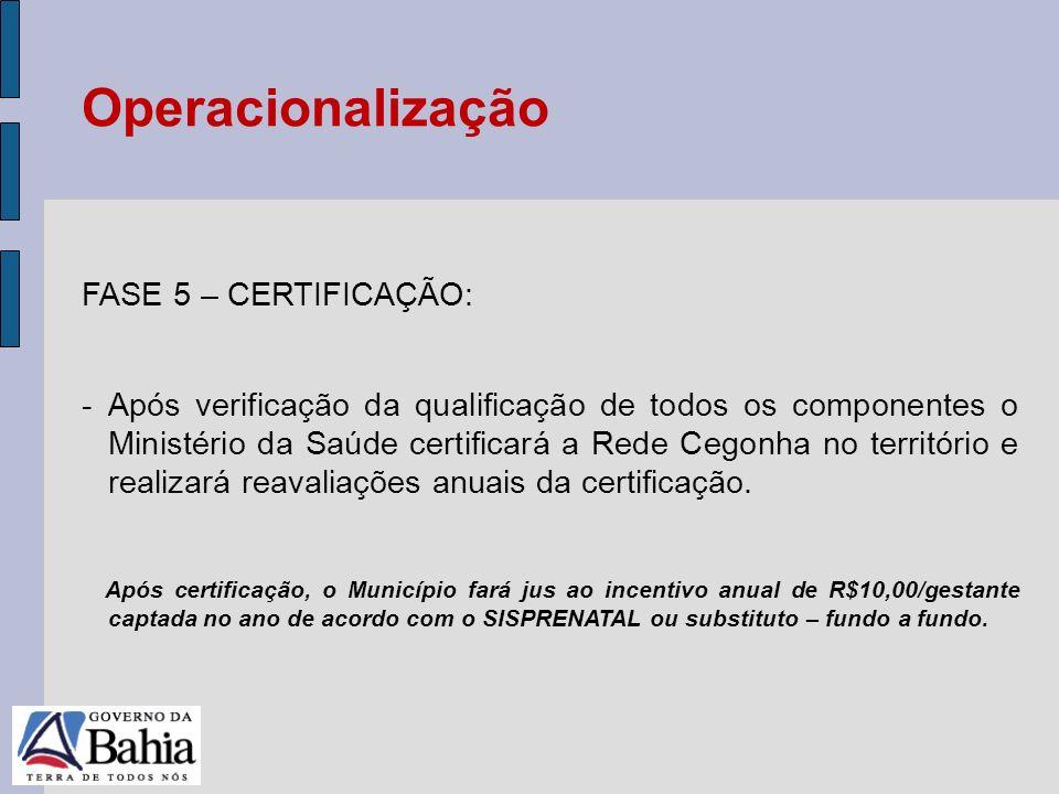 24/05/11 FASE 5 – CERTIFICAÇÃO: -Após verificação da qualificação de todos os componentes o Ministério da Saúde certificará a Rede Cegonha no territór