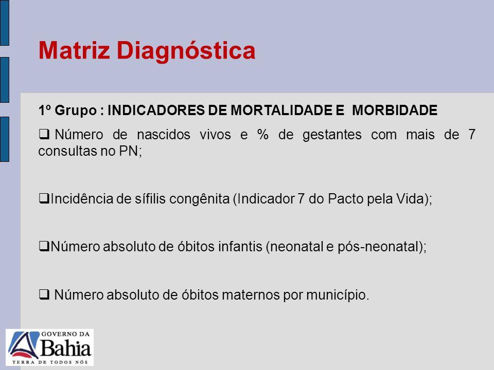 24/05/11 1º Grupo : INDICADORES DE MORTALIDADE E MORBIDADE Número de nascidos vivos e % de gestantes com mais de 7 consultas no PN; Incidência de sífi