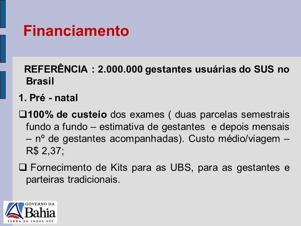 24/05/11 REFERÊNCIA : 2.000.000 gestantes usuárias do SUS no Brasil 1. Pré - natal 100% de custeio dos exames ( duas parcelas semestrais fundo a fundo