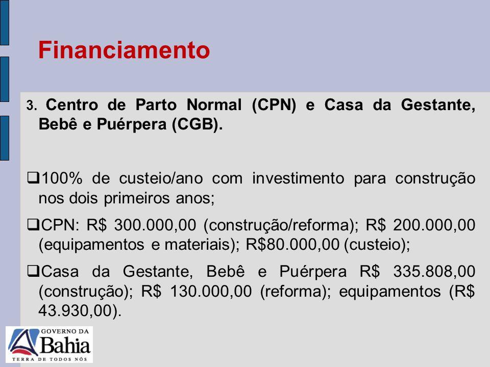 24/05/11 3. Centro de Parto Normal (CPN) e Casa da Gestante, Bebê e Puérpera (CGB). 100% de custeio/ano com investimento para construção nos dois prim