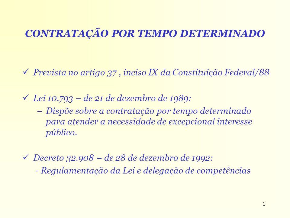 1 CONTRATAÇÃO POR TEMPO DETERMINADO Prevista no artigo 37, inciso IX da Constituição Federal/88 Lei 10.793 – de 21 de dezembro de 1989: –Dispõe sobre