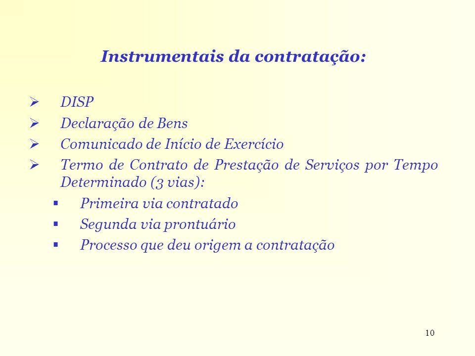 10 Instrumentais da contratação: DISP Declaração de Bens Comunicado de Início de Exercício Termo de Contrato de Prestação de Serviços por Tempo Determ