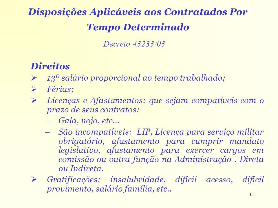 11 Direitos 13º salário proporcional ao tempo trabalhado; Férias; Licenças e Afastamentos: que sejam compatíveis com o prazo de seus contratos: –Gala,
