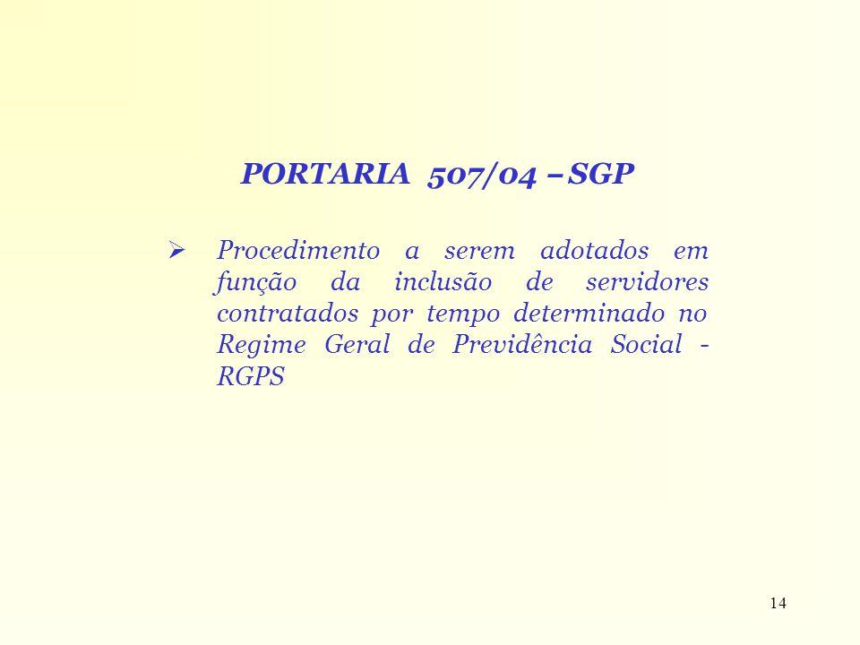 14 PORTARIA 507/04 – SGP Procedimento a serem adotados em função da inclusão de servidores contratados por tempo determinado no Regime Geral de Previd