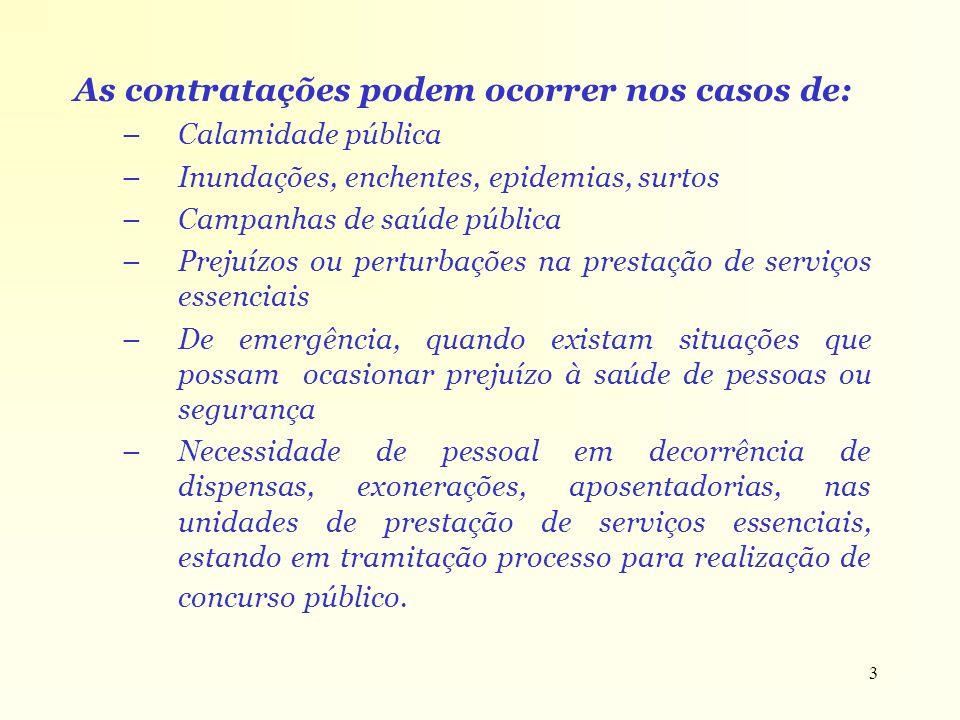 3 As contratações podem ocorrer nos casos de: –Calamidade pública –Inundações, enchentes, epidemias, surtos –Campanhas de saúde pública –Prejuízos ou