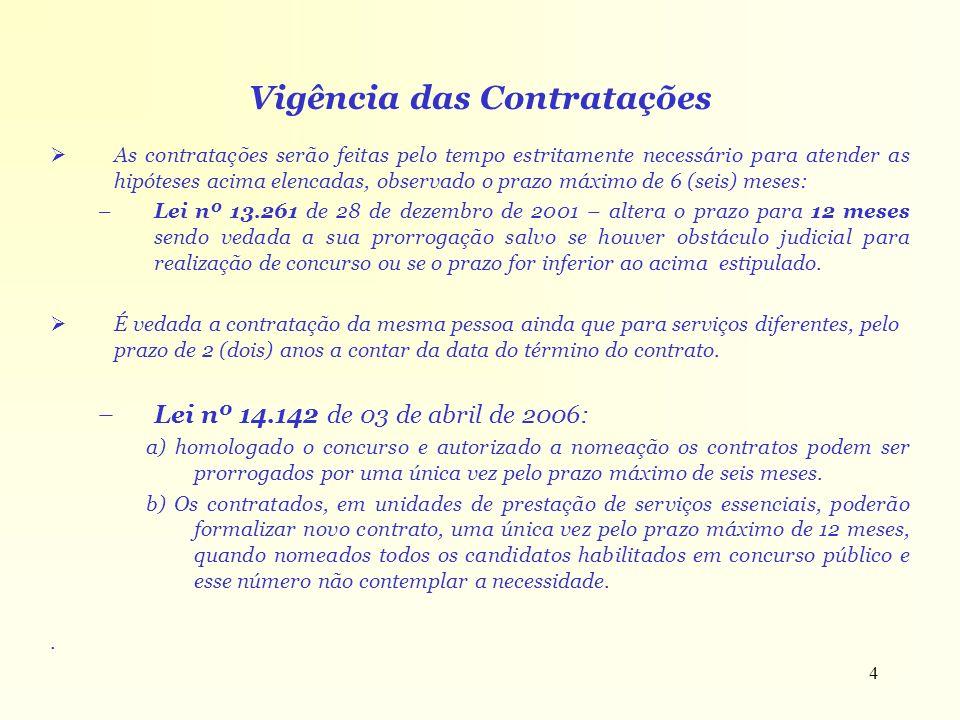4 Vigência das Contratações As contratações serão feitas pelo tempo estritamente necessário para atender as hipóteses acima elencadas, observado o pra