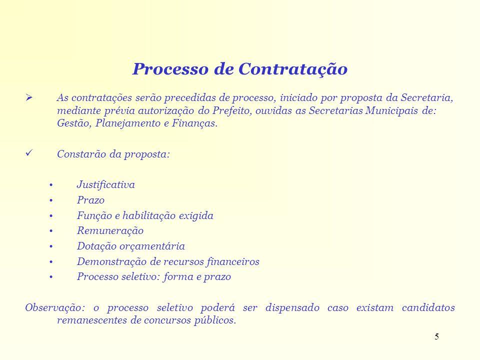 5 Processo de Contratação As contratações serão precedidas de processo, iniciado por proposta da Secretaria, mediante prévia autorização do Prefeito,