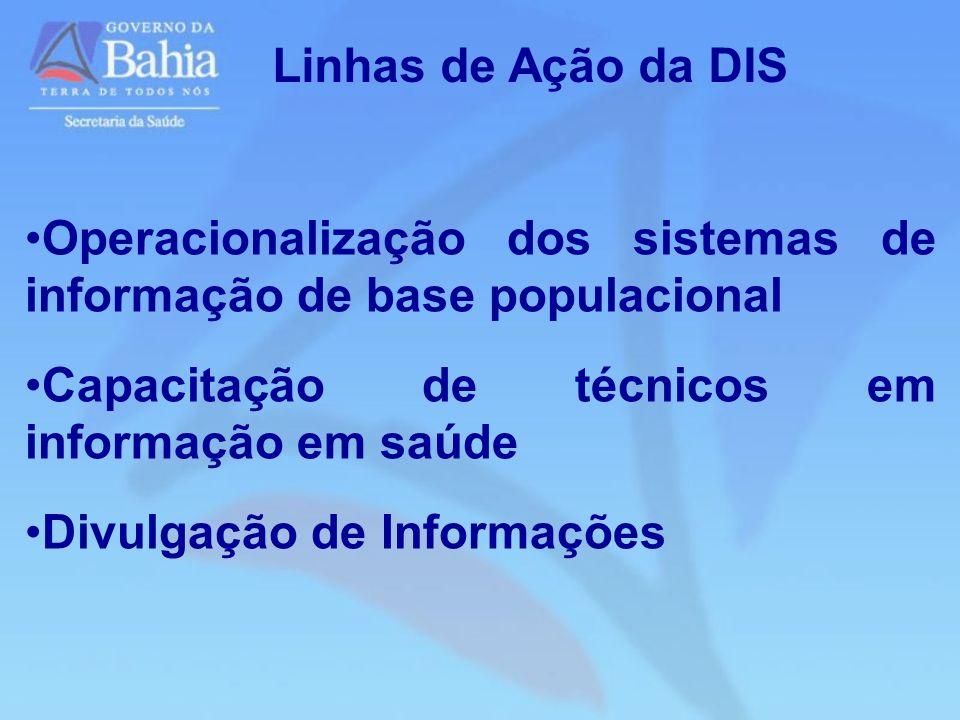 Linhas de Ação da DIS Operacionalização dos sistemas de informação de base populacional Capacitação de técnicos em informação em saúde Divulgação de I