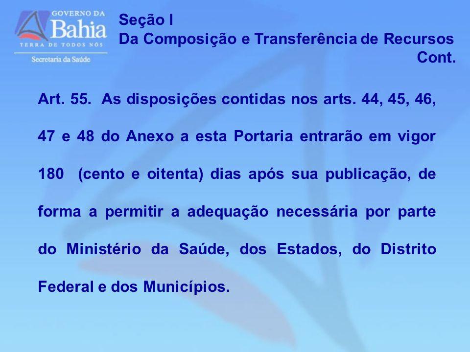 Art. 55. As disposições contidas nos arts. 44, 45, 46, 47 e 48 do Anexo a esta Portaria entrarão em vigor 180 (cento e oitenta) dias após sua publicaç