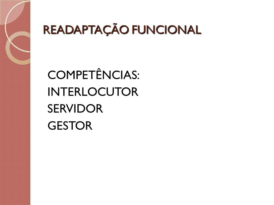 READAPTAÇÃO FUNCIONAL COMPETÊNCIAS: INTERLOCUTOR SERVIDOR GESTOR
