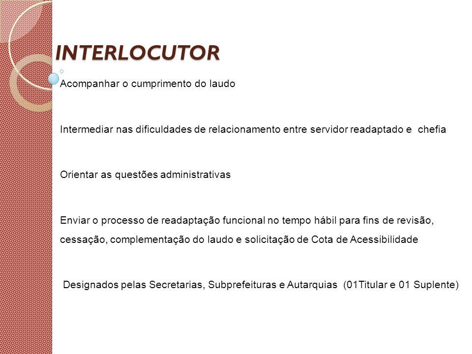 INTERLOCUTOR Acompanhar o cumprimento do laudo Intermediar nas dificuldades de relacionamento entre servidor readaptado e chefia Orientar as questões