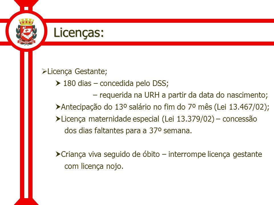 Licenças: Licença Gestante; 180 dias – concedida pelo DSS; – requerida na URH a partir da data do nascimento; Antecipação do 13º salário no fim do 7º