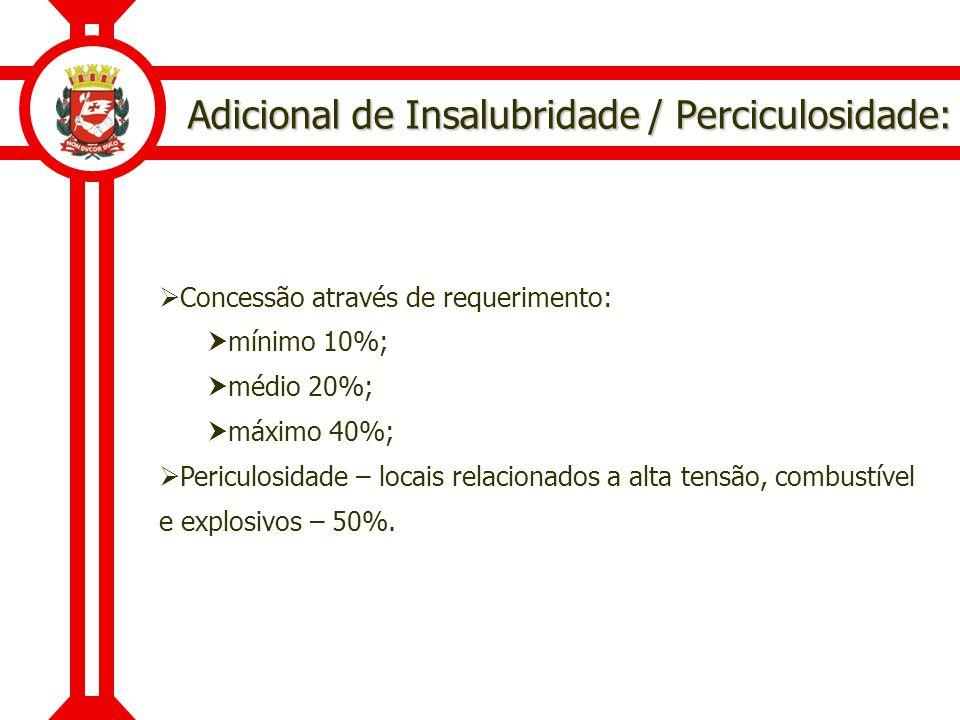 Adicional de Insalubridade / Perciculosidade: Concessão através de requerimento: mínimo 10%; médio 20%; máximo 40%; Periculosidade – locais relacionad