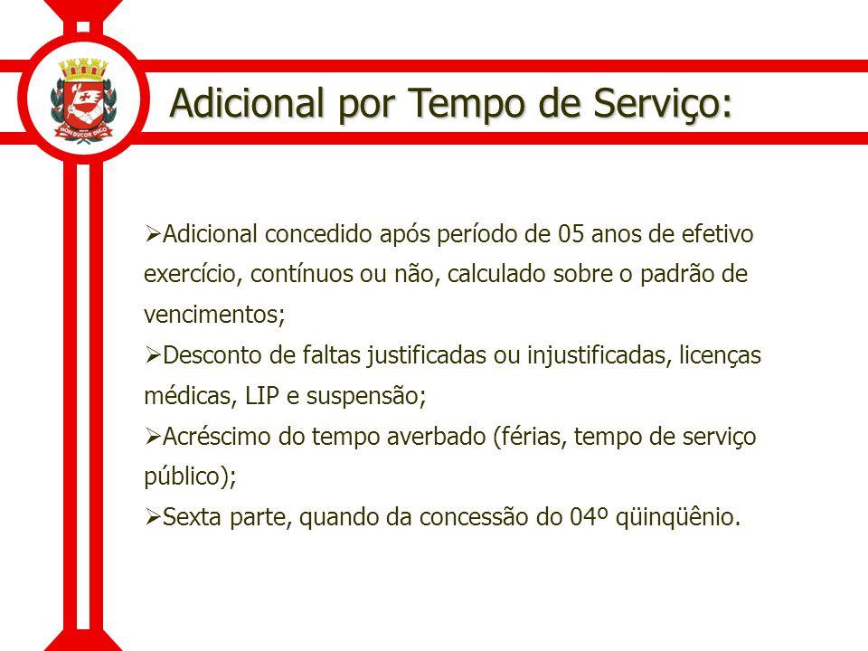Adicional por Tempo de Serviço: Adicional concedido após período de 05 anos de efetivo exercício, contínuos ou não, calculado sobre o padrão de vencim
