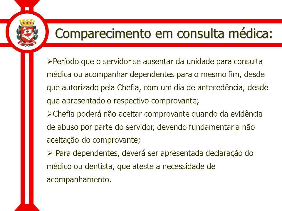 Comparecimento em consulta médica: Período que o servidor se ausentar da unidade para consulta médica ou acompanhar dependentes para o mesmo fim, desd