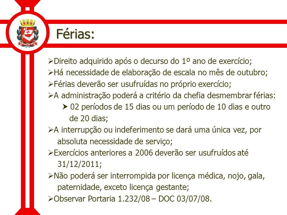 Férias – Raio X (Lei 7.957/73): Portaria Intersecretarial 118/94 SMG/SMS – DOM 05/03/1994; Férias de 20 dias consecutivos por semestre de atividade profissional, não acumuláveis; Os beneficiários não podem, fora do serviço municipal, manusear substâncias radioativas ou com Raio X; Compete as chefias, sob pena de responsabilidade funcional, comunicar a cessação do pagamento dos servidores que não façam mais jus.
